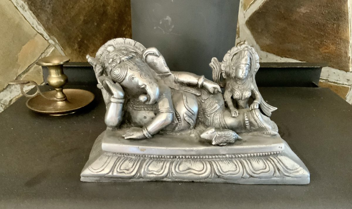 Metal Statue of Ganesha and Mushika